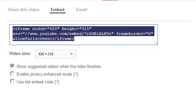 קוד הטמעת סרטון יו טיוב