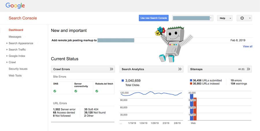 גוגל search console